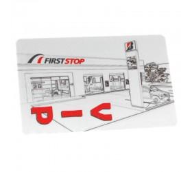 Plastkort First Stop - Metalliclackade